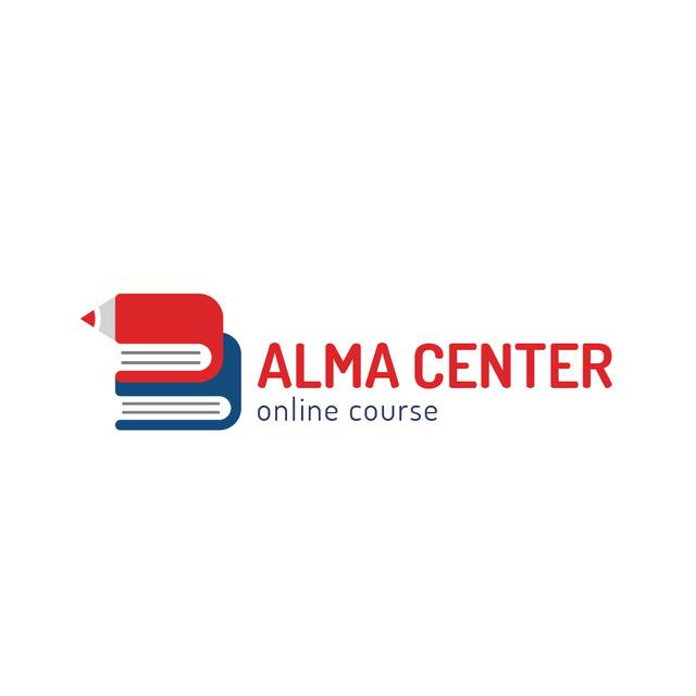 Education Center with Books and Pencil Logo Modelo de Design
