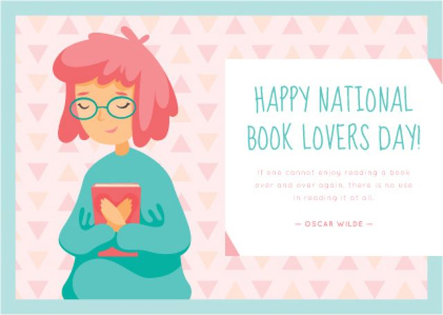National Book lovers day greeting card Postcard Design Template