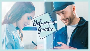Delivery service ad with Client receiving parcel