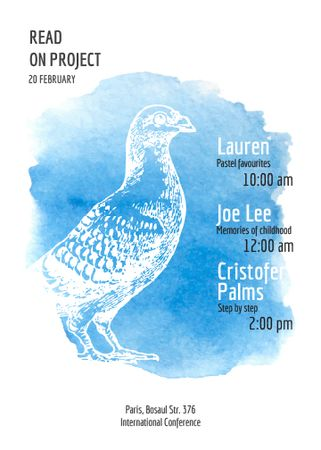 Plantilla de diseño de Painters conference announcement with Bird in blue Invitation