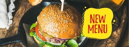 Fast Food Offer with Tasty Burger Facebook cover Modelo de Design