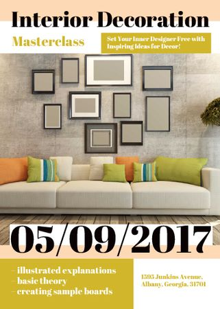 Plantilla de diseño de Interior decoration masterclass with Sofa in room Flayer