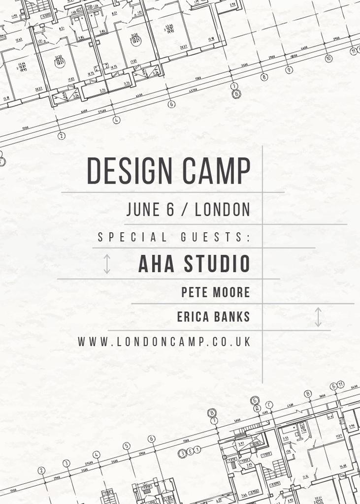 Design camp announcement on blueprint — Modelo de projeto