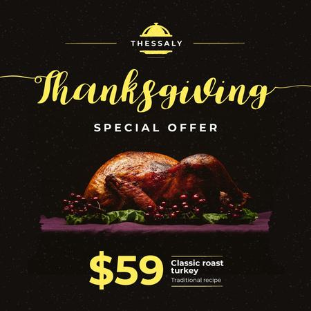 Ontwerpsjabloon van Instagram van Thanksgiving Offer Whole Roasted Turkey