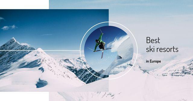 Ontwerpsjabloon van Facebook AD van Skier in snowy mountains