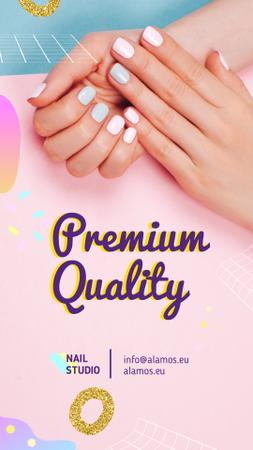 Plantilla de diseño de Beauty Salon Ad Manicured Hands in Pink Instagram Video Story