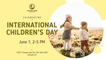 Children's Day Greeting Kids on a Walk Outdoors | Facebook Event Cover Template