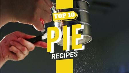 Template di design Bakery Recipe Sifting Sugar Powder on Pie Full HD video