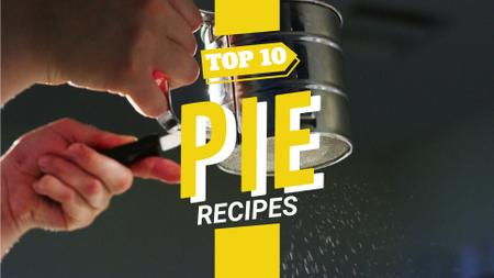 Modèle de visuel Bakery Recipe Sifting Sugar Powder on Pie - Full HD video
