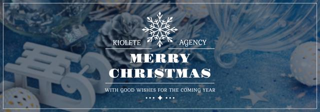Christmas Greeting Shiny Decorations in Blue Tumblr Design Template
