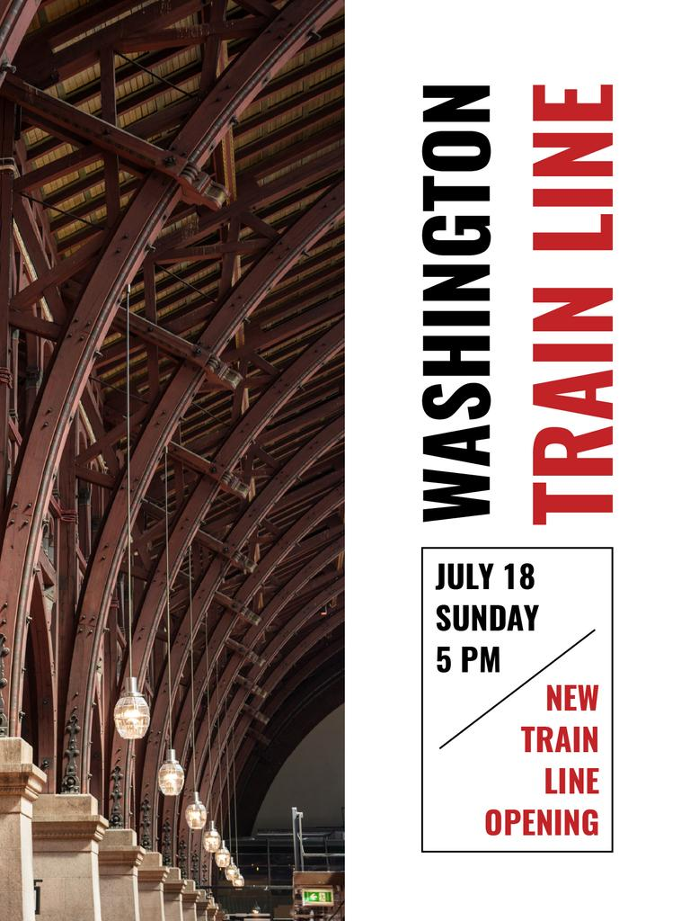Train Line Opening Announcement Station Interior Poster US Design Template