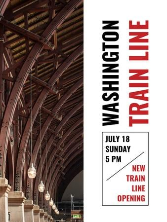 Plantilla de diseño de Train Line Opening Announcement Station Interior Poster US