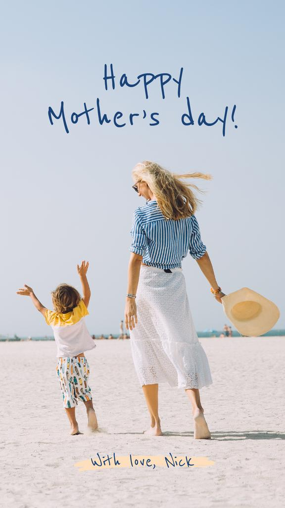 Happy mother with her son on Mother's Day — Створити дизайн