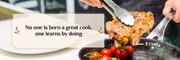Motivational Inscription with Hands holding Fried Meat