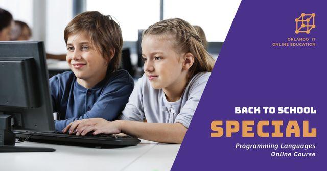 Plantilla de diseño de Back to School Online courses of programming languages Facebook AD