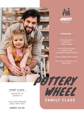 Pottery Classes Father with Daughter Posterデザインテンプレート