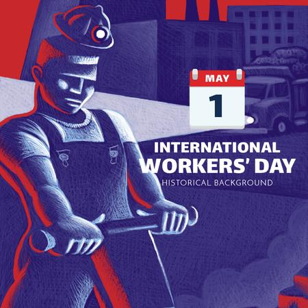 Worker's Day greeting with man at work Instagram AD Modelo de Design