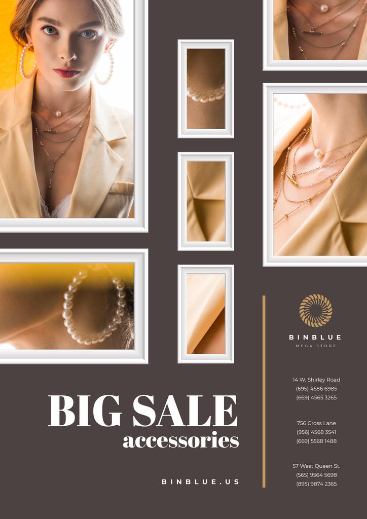 Jewelry Sale Woman in Golden Accessories — Modelo de projeto
