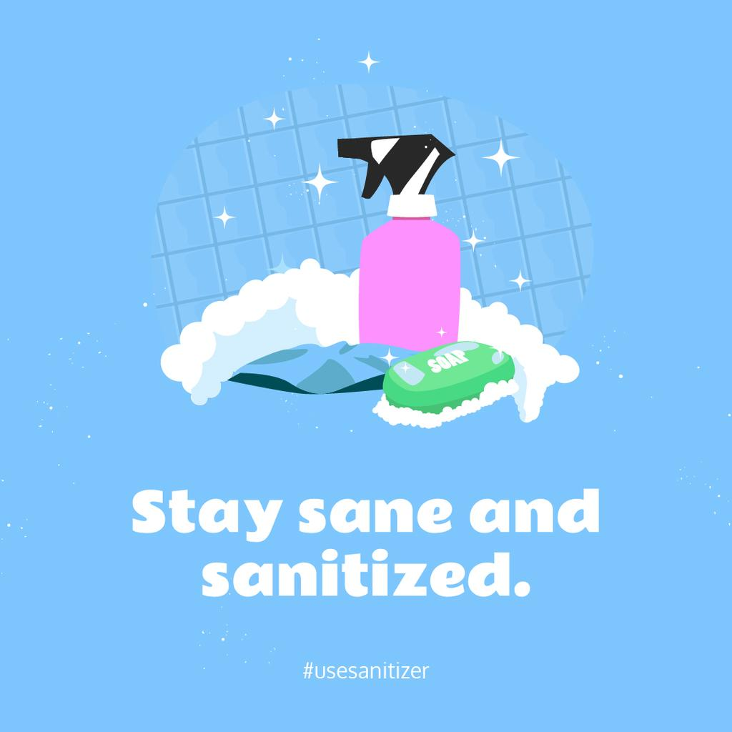 Coronavirus awareness with Sanitizer and Soap Instagram – шаблон для дизайна