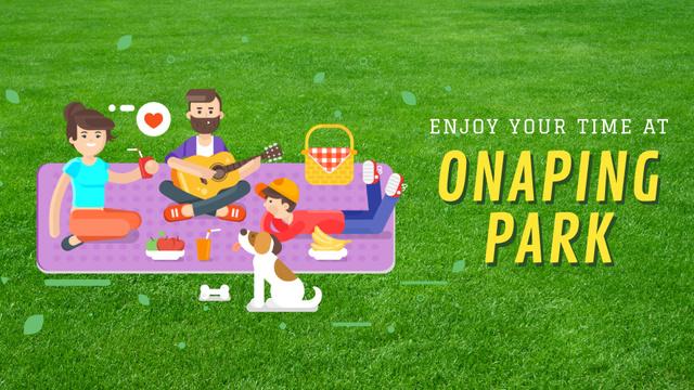 Family on a Picnic in Park Full HD video Modelo de Design