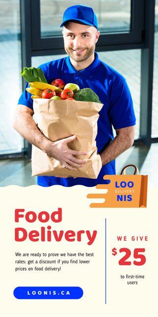Plantilla de diseño de Food Delivery Services Courier with Groceries Graphic