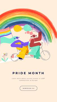 Pride Month Women Riding Bicycle with Rainbow Flag | Vertical Video Template
