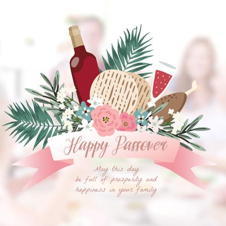 Happy Passover festive dinner Animated Post Modelo de Design
