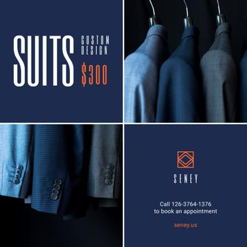 Clothes Store Sale Suits on Hanger in Blue