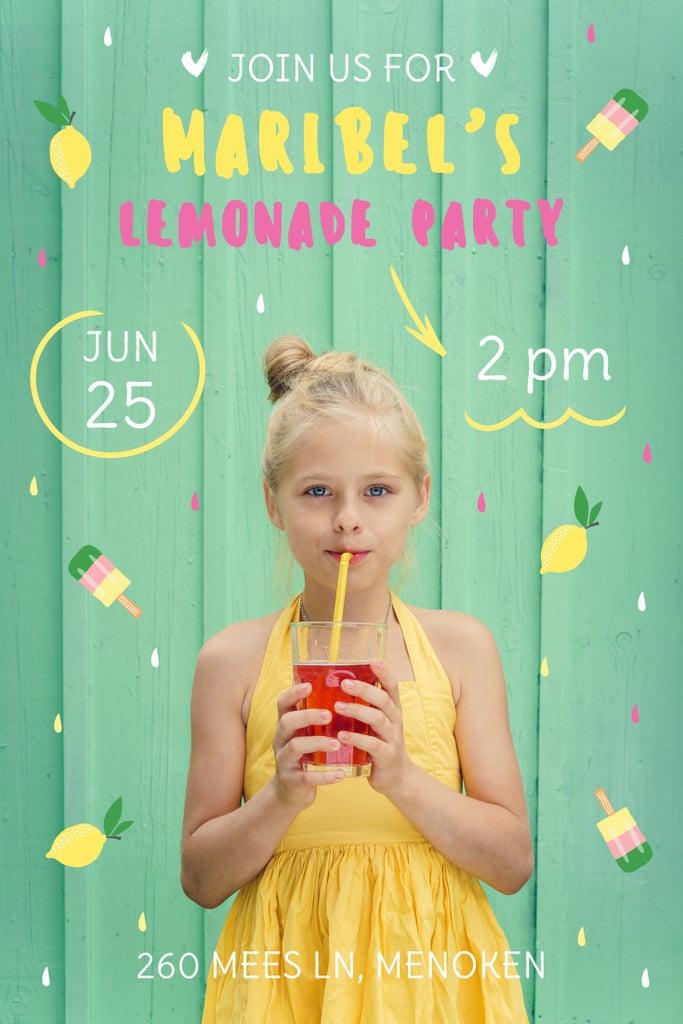 Kids Party Invitation with Girl Drinking Lemonade — Créer un visuel