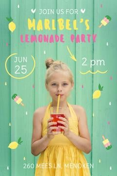 Kids Party Invitation Girl Drinking Lemonade