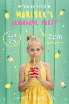 Kids Party Invitation with Girl Drinking Lemonade