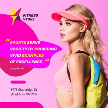 Sport Equipment Ad Sportive Young Girl in Pink | Instagram Post Template