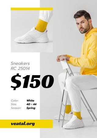 Template di design Sneakers Offer with Sportive Man in White Shoes Poster