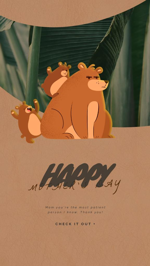 Mother's Day Greeting Bear with Little Cubs — Crear un diseño
