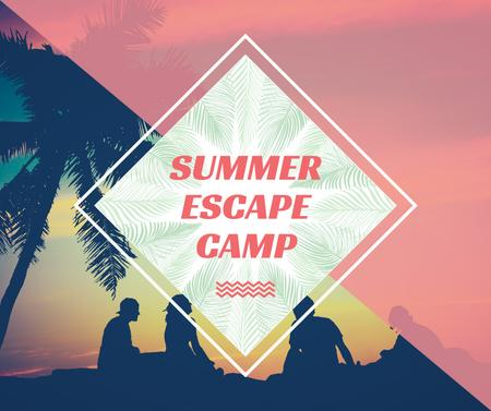 Plantilla de diseño de Summer Camp friends at sunset beach Facebook