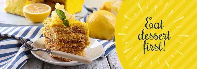Delicious Lemon Dessert on Plate with Fork Tumblr Design Template