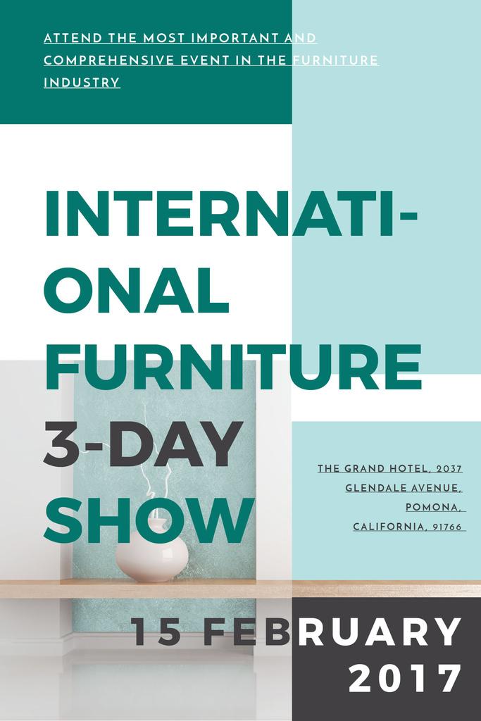 Plantilla de diseño de Home Decor Event Ad with Vase in Blue Pinterest