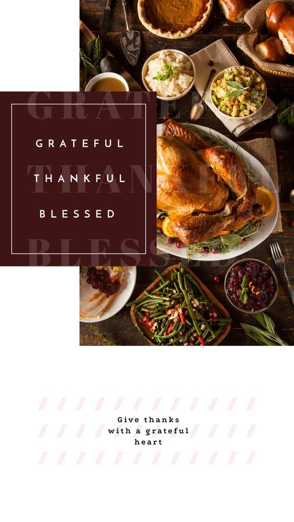Thanksgiving Dinner Roasted Whole Turkey Instagram Story Modelo de Design