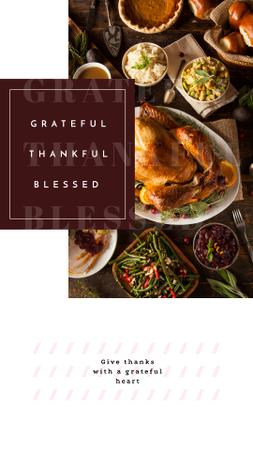 Designvorlage Thanksgiving Dinner Roasted Whole Turkey für Instagram Story