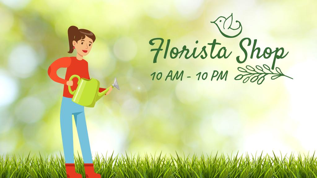 Florist Services Girl Watering Corn Plants — Створити дизайн