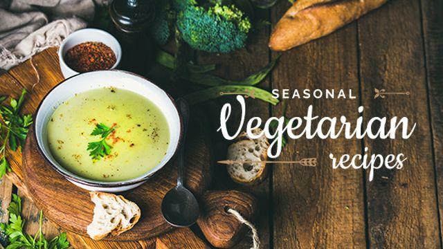 Plantilla de diseño de Vegetable Soup on table Title