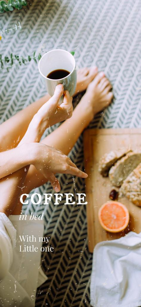 Woman having Breakfast with coffee —デザインを作成する