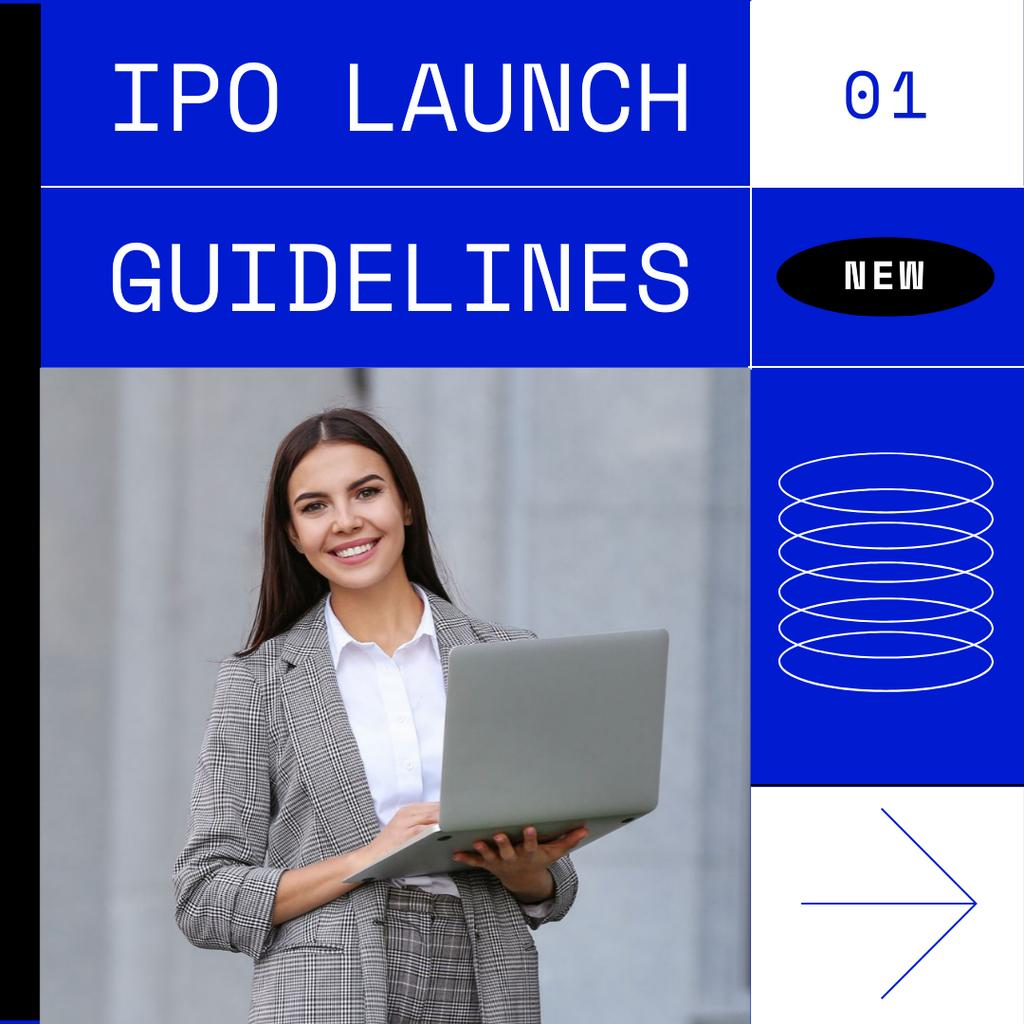 Smiling Businesswoman for IPO launch guidelines — Crear un diseño