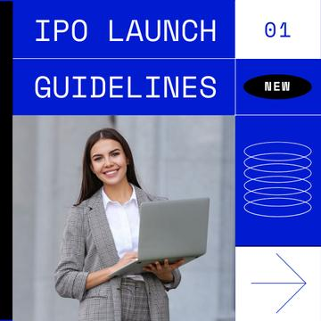 Smiling Businesswoman for IPO launch guidelines