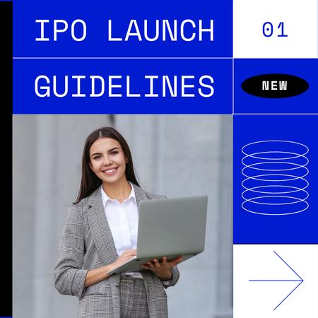 Smiling Businesswoman for IPO launch guidelines Instagram Modelo de Design