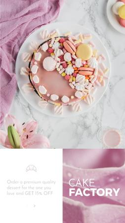 Designvorlage Bakery Offer with sweet pink Cake  für Instagram Video Story
