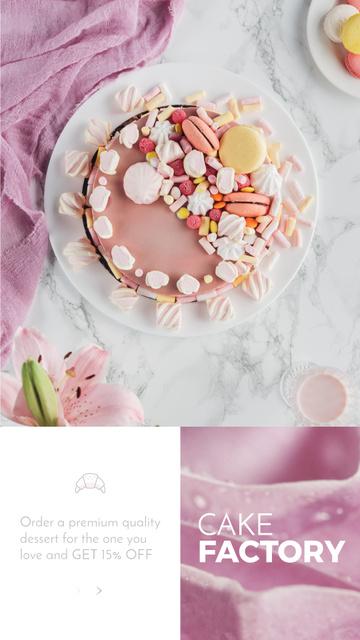 Ontwerpsjabloon van Instagram Video Story van Bakery Offer with sweet pink Cake