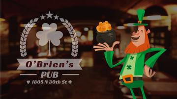 Saint Patrick's Leprechaun with Coins in Pub | Full Hd Video Template