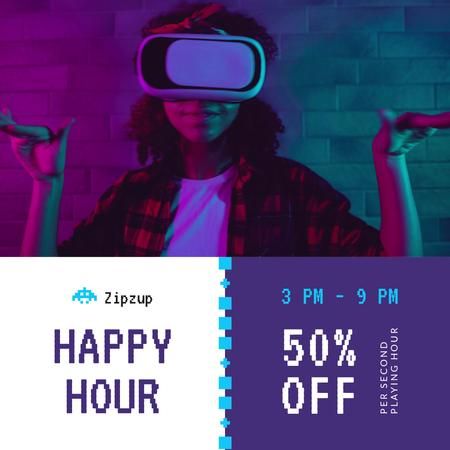 Template di design Gadgets Sale Girl dancing in VR Glasses Animated Post