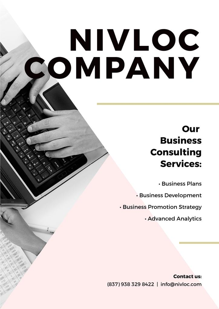 Business Services Ad with Worker Typing on Laptop — Créer un visuel